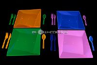 Set de 51 couverts en plastique Rose Fluorescent