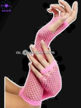 Gants mitaines filet rose