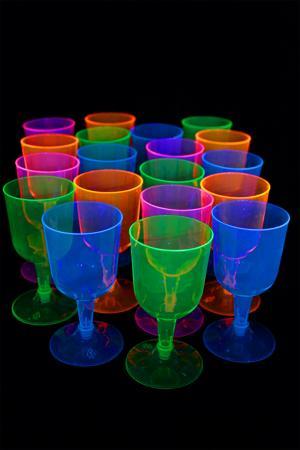 Lot de 12 verres a pieds fluo 16cl