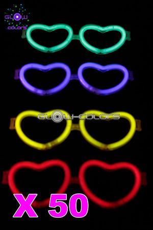 c855aff455c235 Kit de 50 lunettes coeur lumineuses couleurs assorties