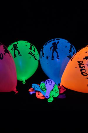 25 Ballons Fluo Disco assortiment de couleurs