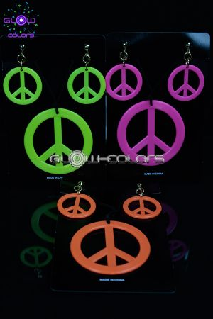 Set collier et boucles d 39 oreilles peace and love fluo - Boucle d oreille peace and love ...
