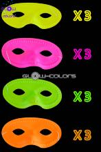 Lot de 12 masques loup 4 couleurs assorties fluo UV