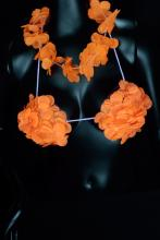 Collier + soutient-gorge Hawaïen orange fluo
