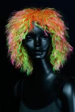 Perruque fluo afro multicolore