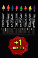 Pack maquillage 7 couleurs phosphorescentes et fluo large + 1 GRATUIT