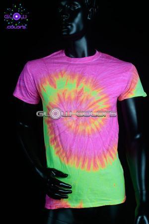 grande remise mode de luxe style top T-shirt fluo Tie Die rose et jaune S